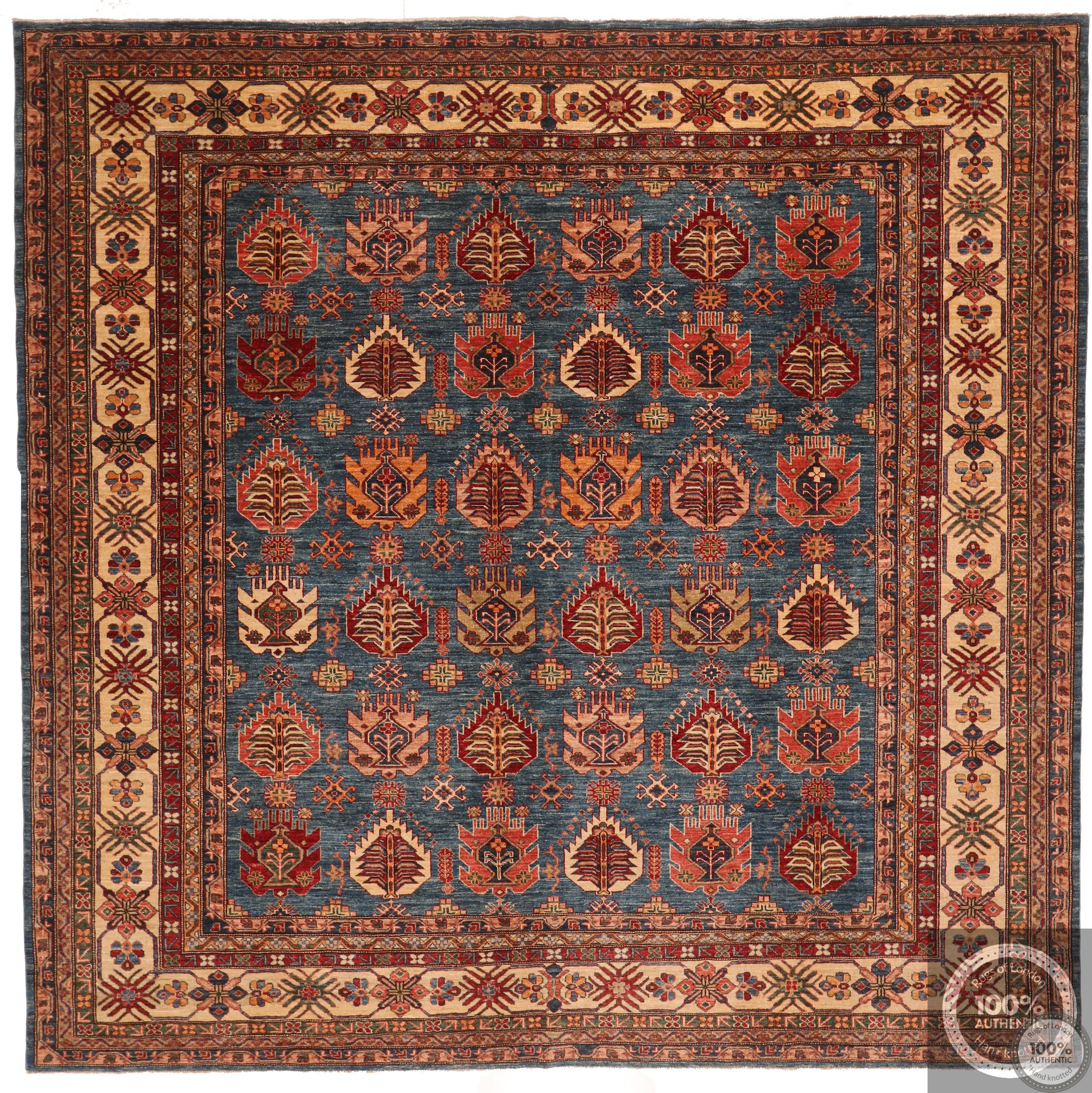 Caucasian Kazak Square Design rug in Blue