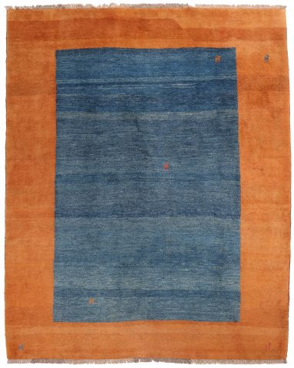 Persian Gabbeh Modern Rug - Orange and Blue