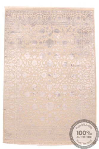 Keshan design contemporary Indian rug beige and light purple