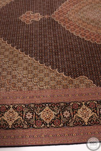 Persian Tabriz Mahi rug with silk highlights