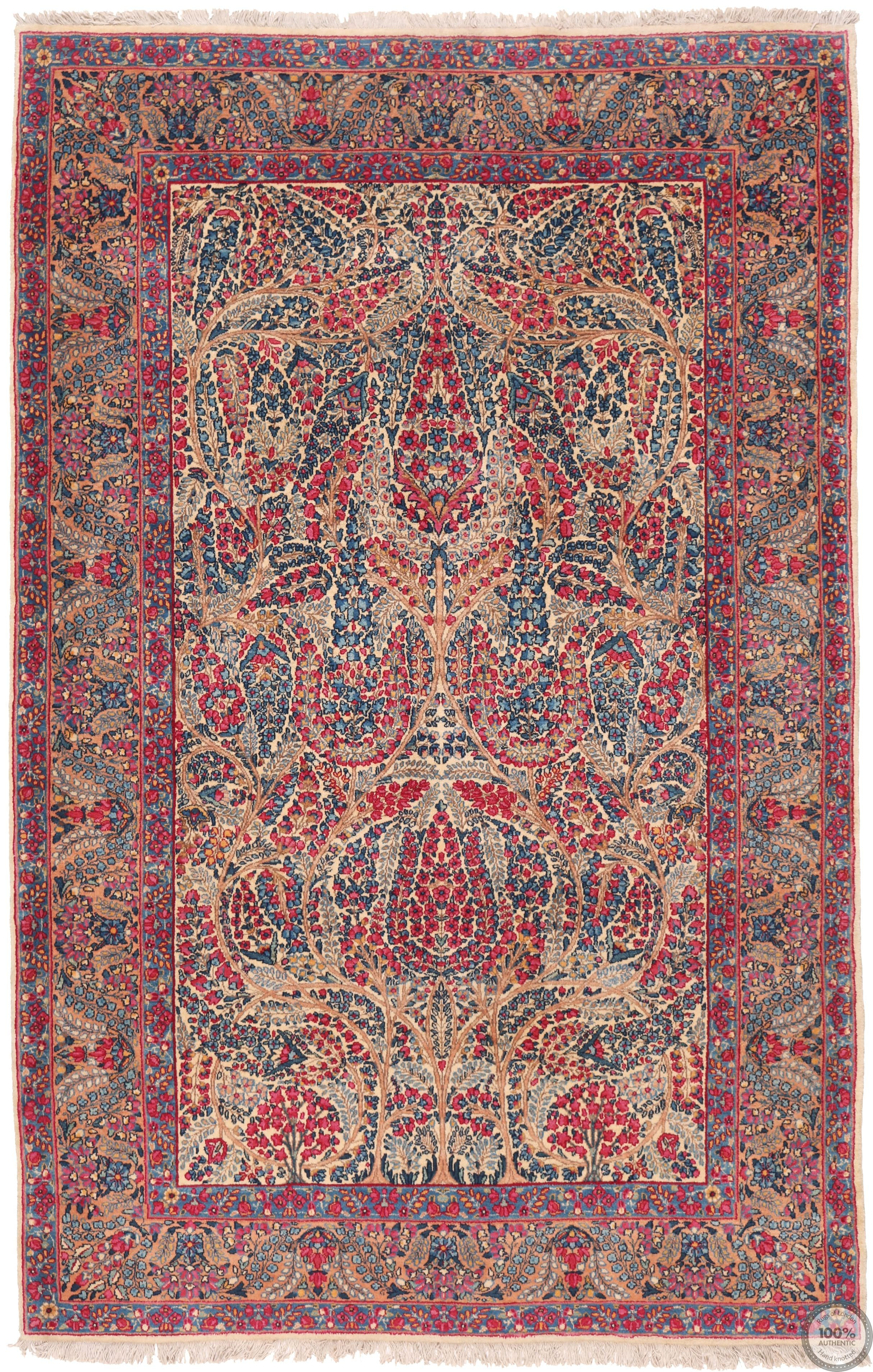 Antique Persian Lavar Kerman Rug - Circa 1920