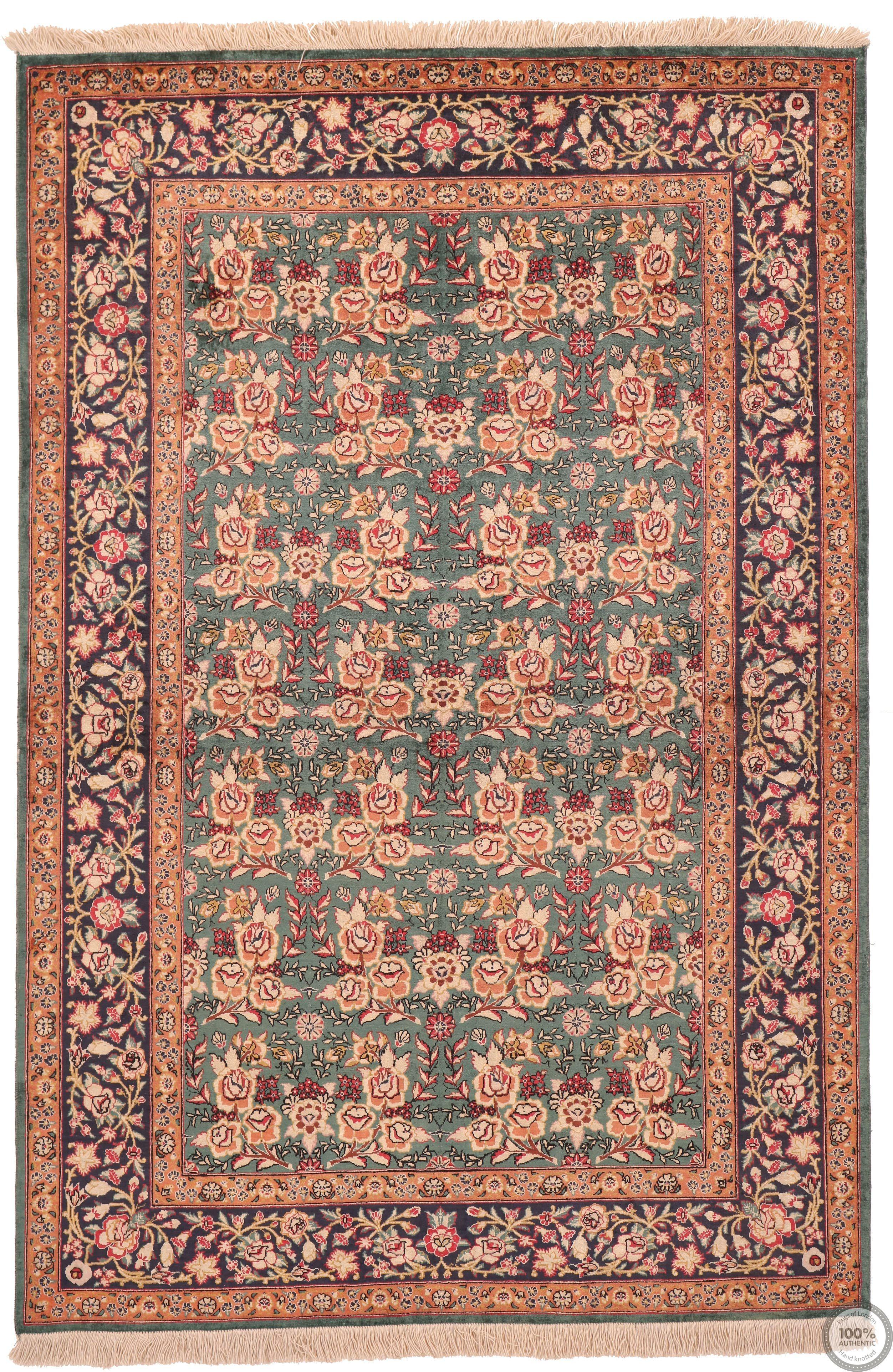 Persian Qum Floral Design - 4'7 x 3'1
