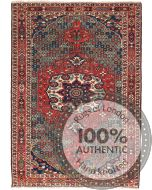 Persian Antique Bakhtiar Rug  - Red / Beige / Dark Blue Medallion - front view