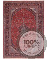 Persian Keshan/Kashan rug - Red & Dark Blue - front view