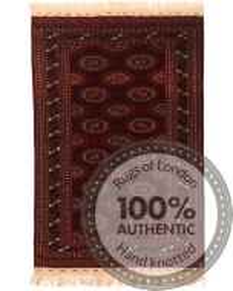 Bokhara Design Rug - Brown / Dark Red - front view
