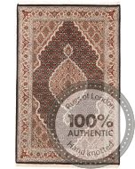 Tabriz Mahi Indian rug - Pale Red Medallion Wool & Silk - front view