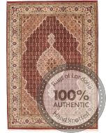 Tabriz Mahi Indian rug - Red/Brown Medallion Wool & Silk - front view
