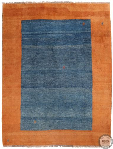 Persian Gabbeh Modern Rug - Orange and Blue