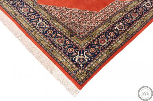 Persian Heriz rug - Blue Medallion Pure Wool - corner