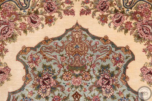 Very fine silk Qum signed Mir Mehdi - 5'1 x 3'3