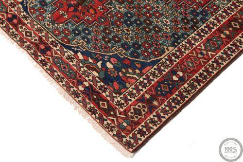 Persian Antique Bakhtiar Rug  - Red / Beige / Dark Blue Medallion - corner