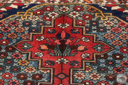 Persian Antique Bakhtiar Rug  - Red / Beige / Dark Blue Medallion