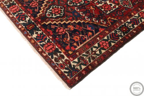 Persian Antique Bakhtiar Rug - Red / Dark Blue - corner
