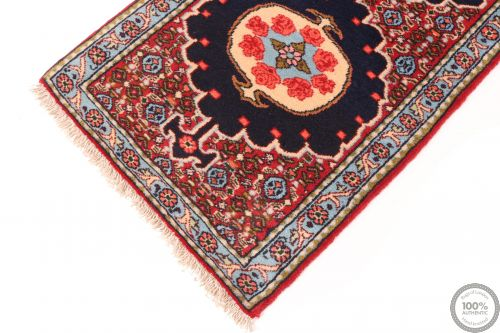 Persian Sanandaj Runner Rug - Navy Blue / Red / Light Blue - corner