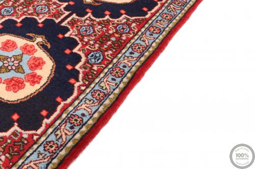 Persian Sanandaj Runner Rug - Navy Blue / Red / Light Blue
