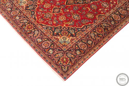 Persian Keshan / Kashan Rug - Bright Red / Dark Red - corner