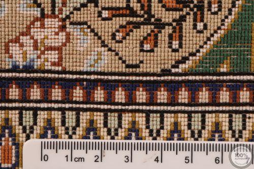 Fine Gonbad Qum Design 100% silk rug - Green
