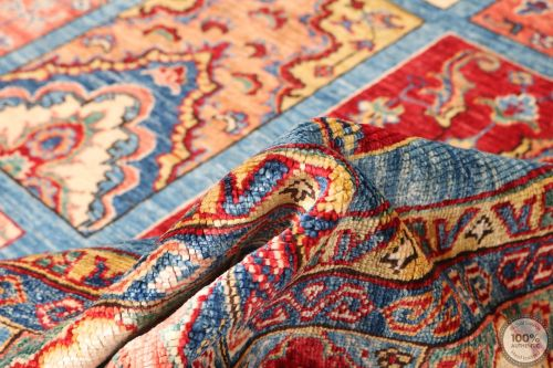 Multicolored Caucasian Kazak design Rug - 9'63 x 6'88