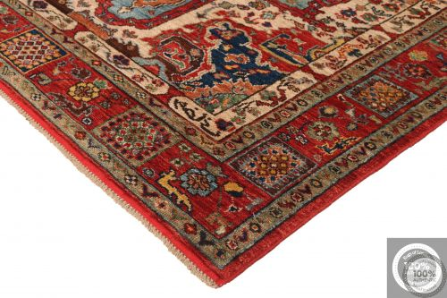 Shirvan Design Rug Biege / Light Red / Light Blue - corner
