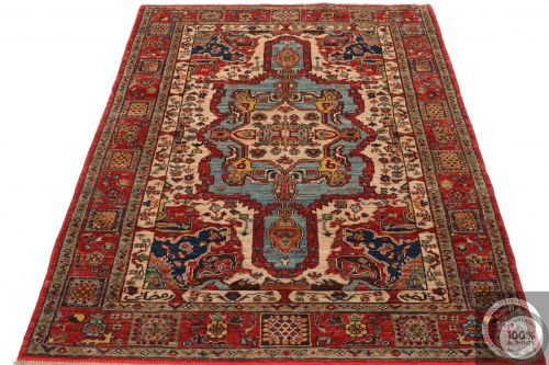 Shirvan Design Rug Biege / Light Red / Light Blue - flat