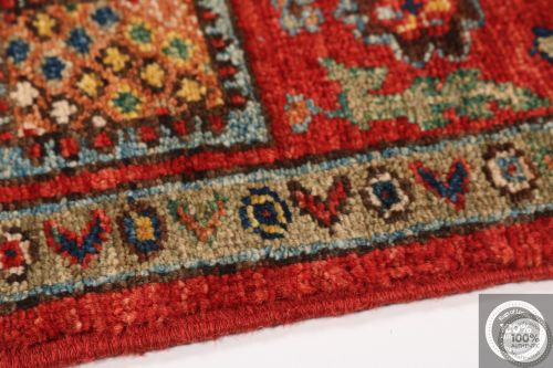 Shirvan Design Rug Biege / Light Red / Light Blue