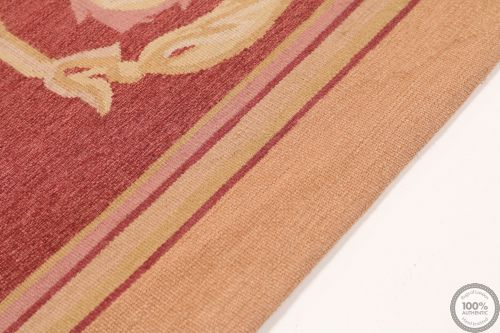 Aubusson French rug burgundy border - Design 43