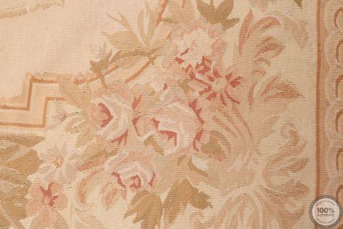 Aubusson rug beige floral medalion - Design 33
