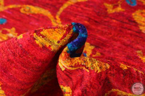 Sari silk Red - 7'9 x 5'5