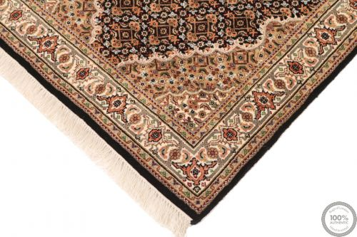 Tabriz Mahi Indian rug - Brown/Beige Medallion Wool & Silk