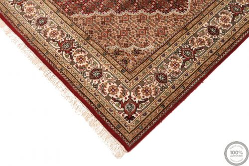 Tabriz Mahi Indian rug - Red/Brown Medallion Wool & Silk