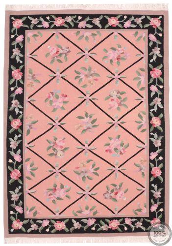 Bessarabian Design Kilim - Pink / Floral Pattern / Black Borders 8 x 5'6