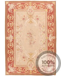 Pink Aubusson Part Silk Design 9 x 6