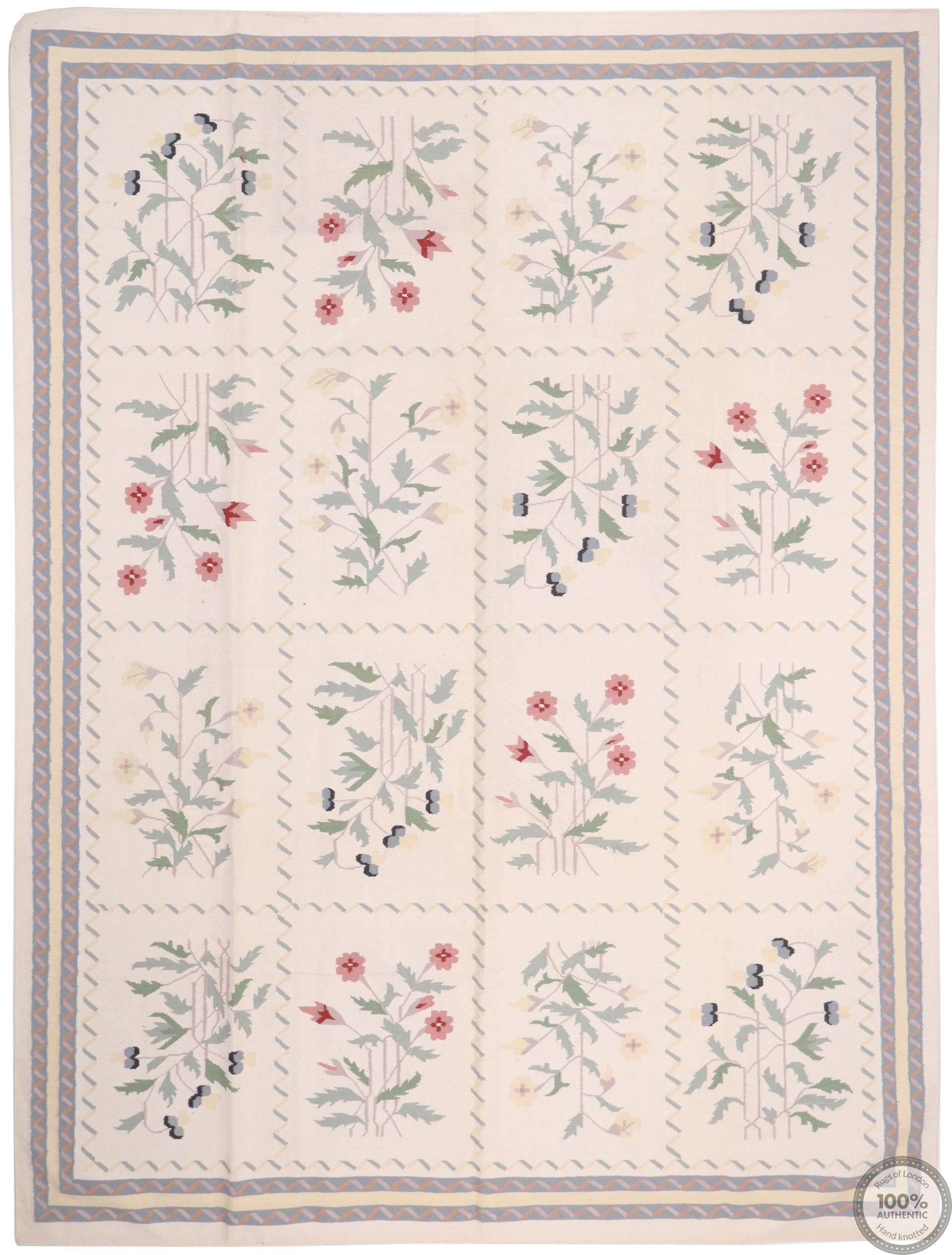 Bessarabian design kilim beige floral motifs