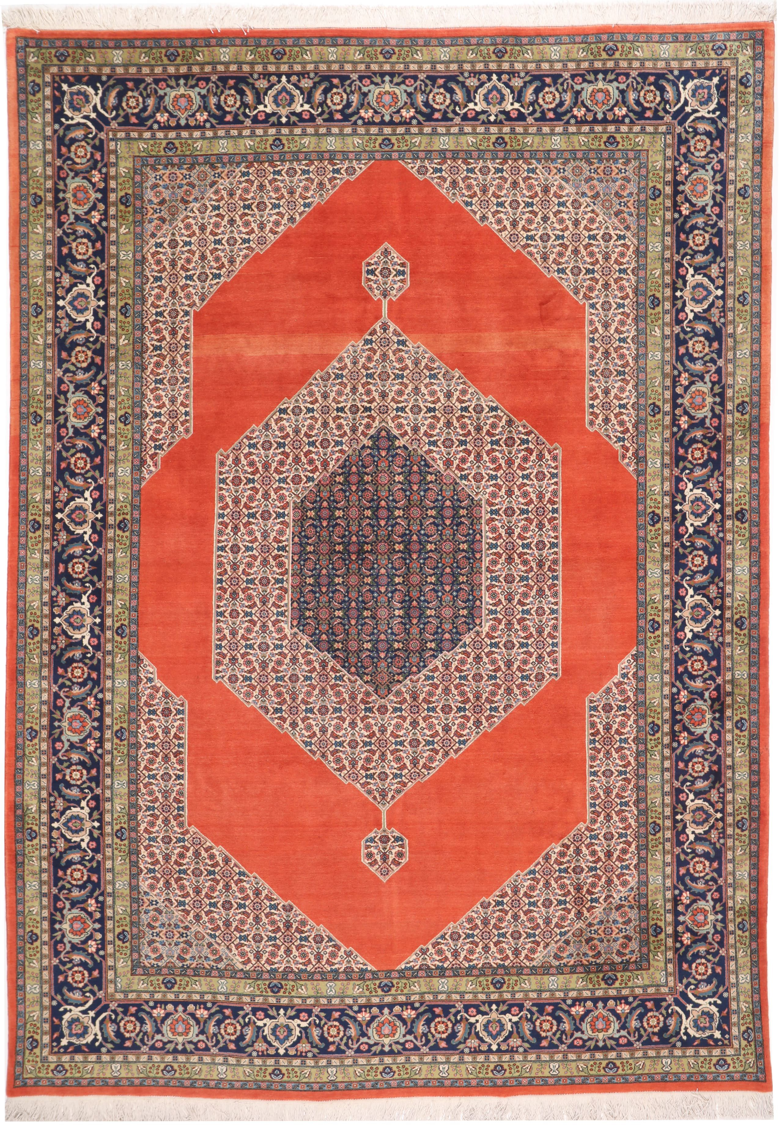 Persian Heriz rug - Blue Medallion Pure Wool - front view