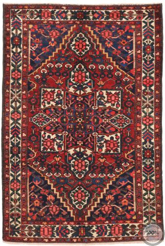 Persian Antique Bakhtiar Rug - Red / Dark Blue - front view