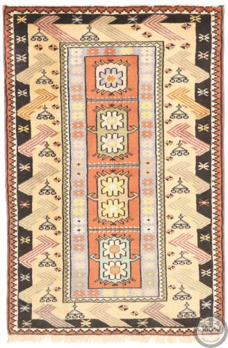Persian Balouch Rug Yellow / Orange / Black Border - front view