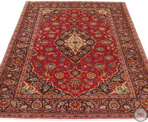 Persian Keshan / Kashan Rug - Bright Red / Dark Red - flat