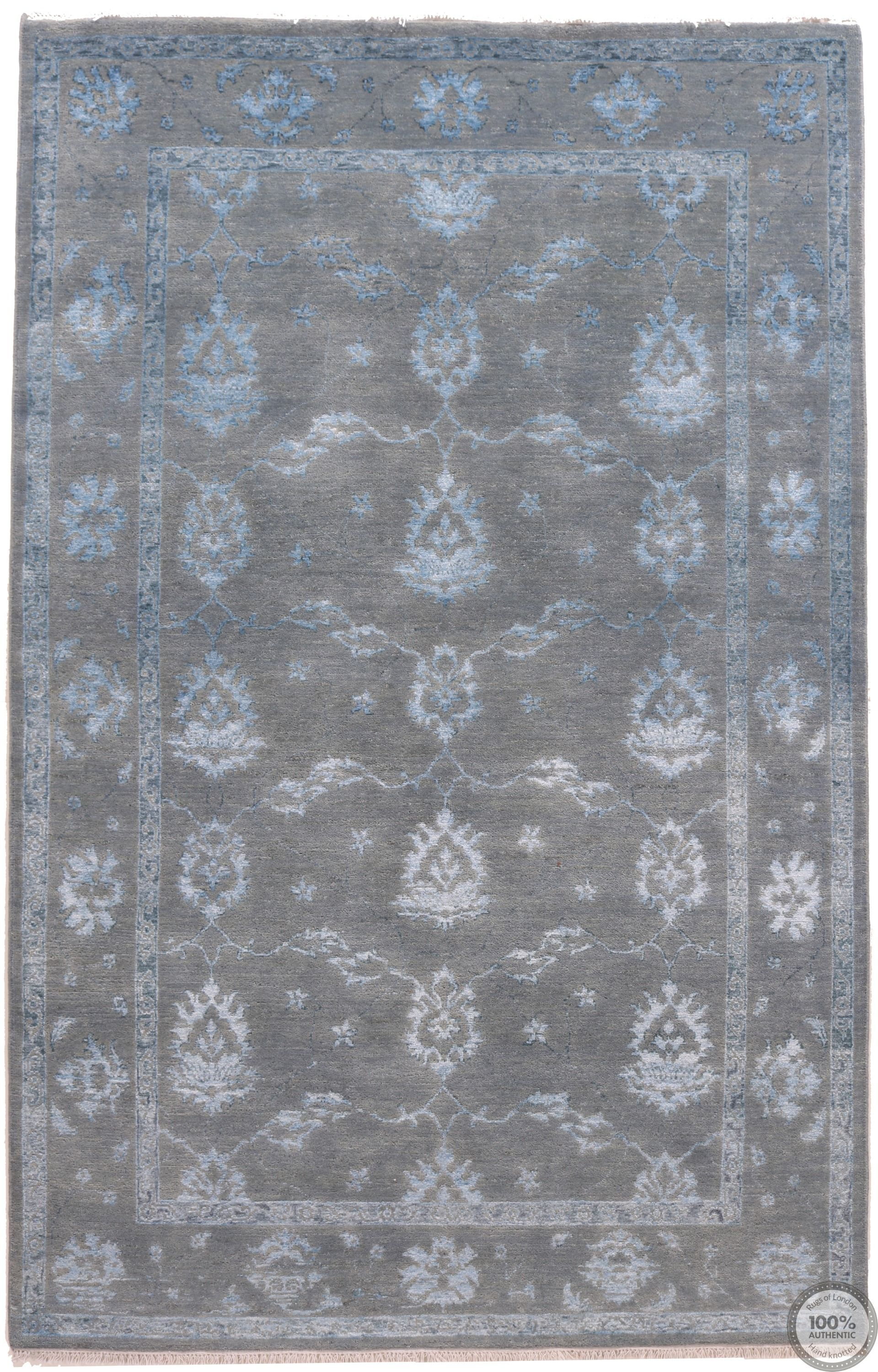 Garous Ziegler design rug with part silk 7'9 x 5'1