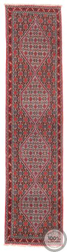 Persian Sanandaj Runner Rug Red / Pink / Blue - front view