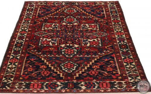 Persian Antique Bakhtiar Rug - Red / Dark Blue - flat