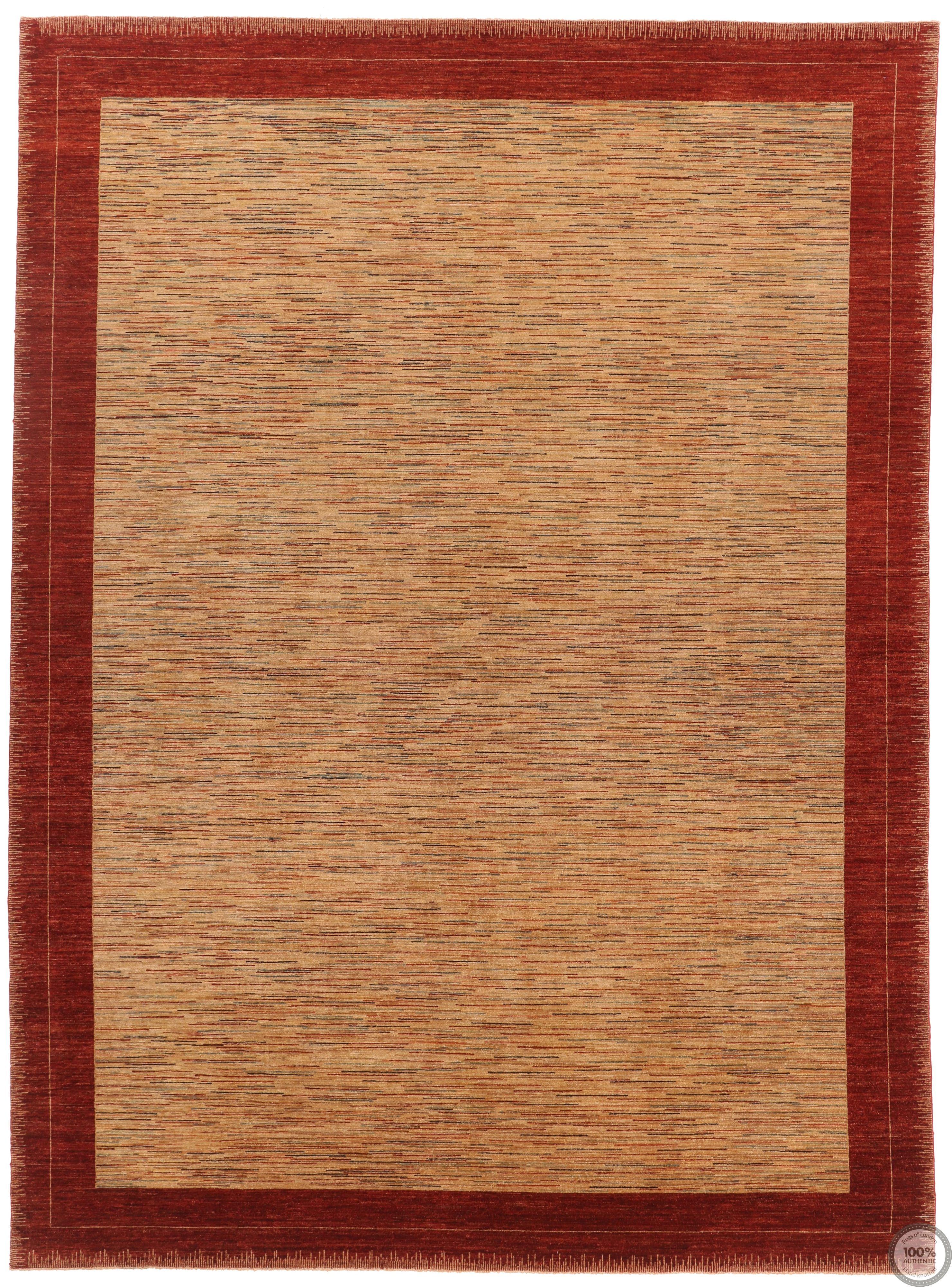 Garous Modern / Ziegler Design Rug - Mix Beige Background / Red Borders - front view