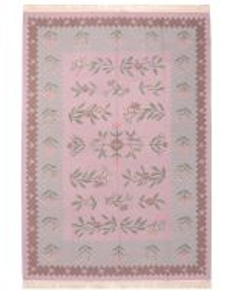 Bessarabian Design Kilim Pink & Grey Floral Patterns - front view