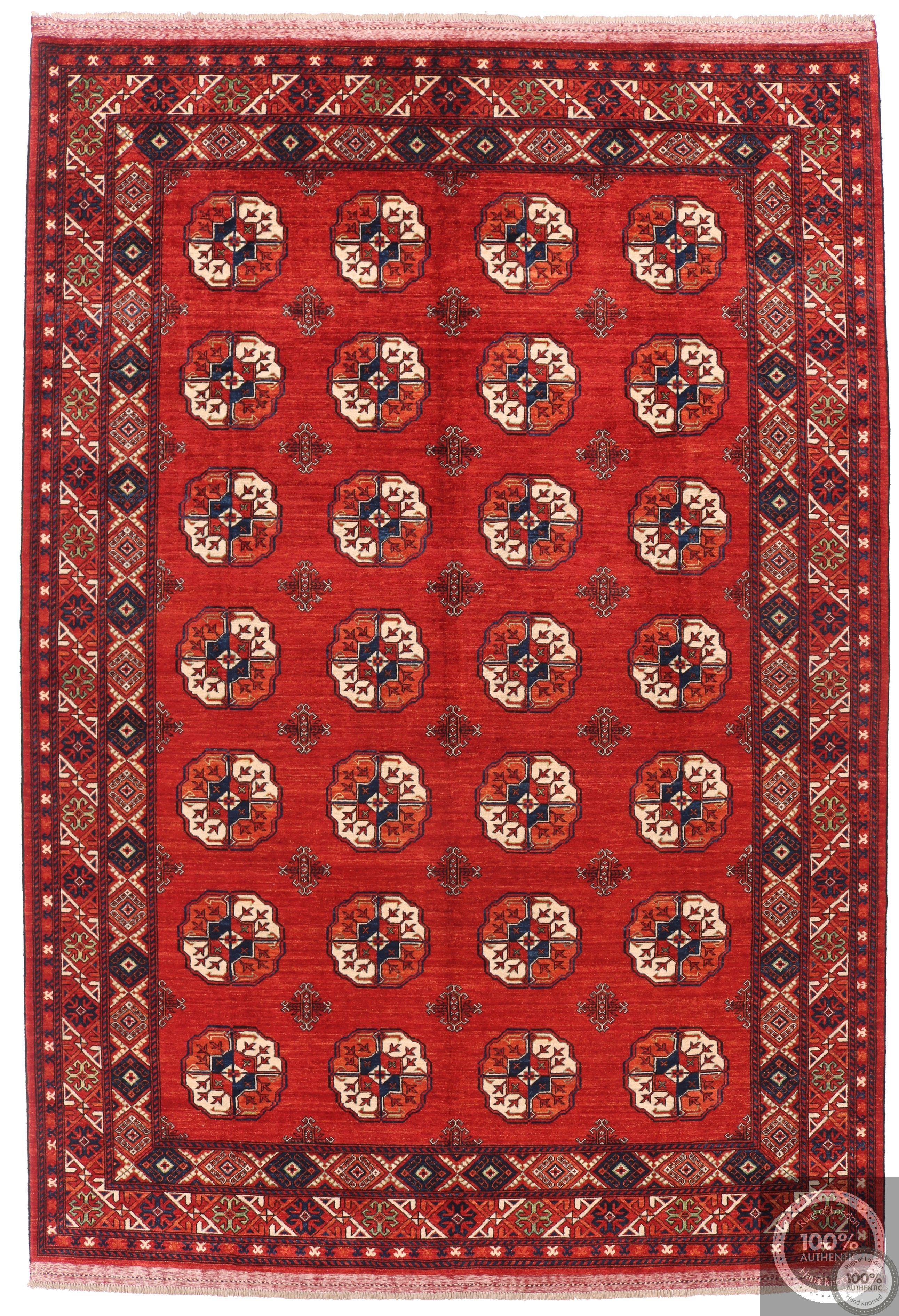 Ersari design Afghan Rug - Bright Red