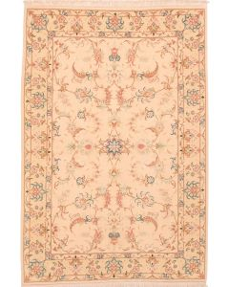 Fine Tabriz with silk highlights - beige - front view