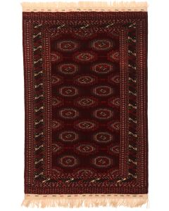 Bokhara Design Rug - Brown / Dark Red - front view