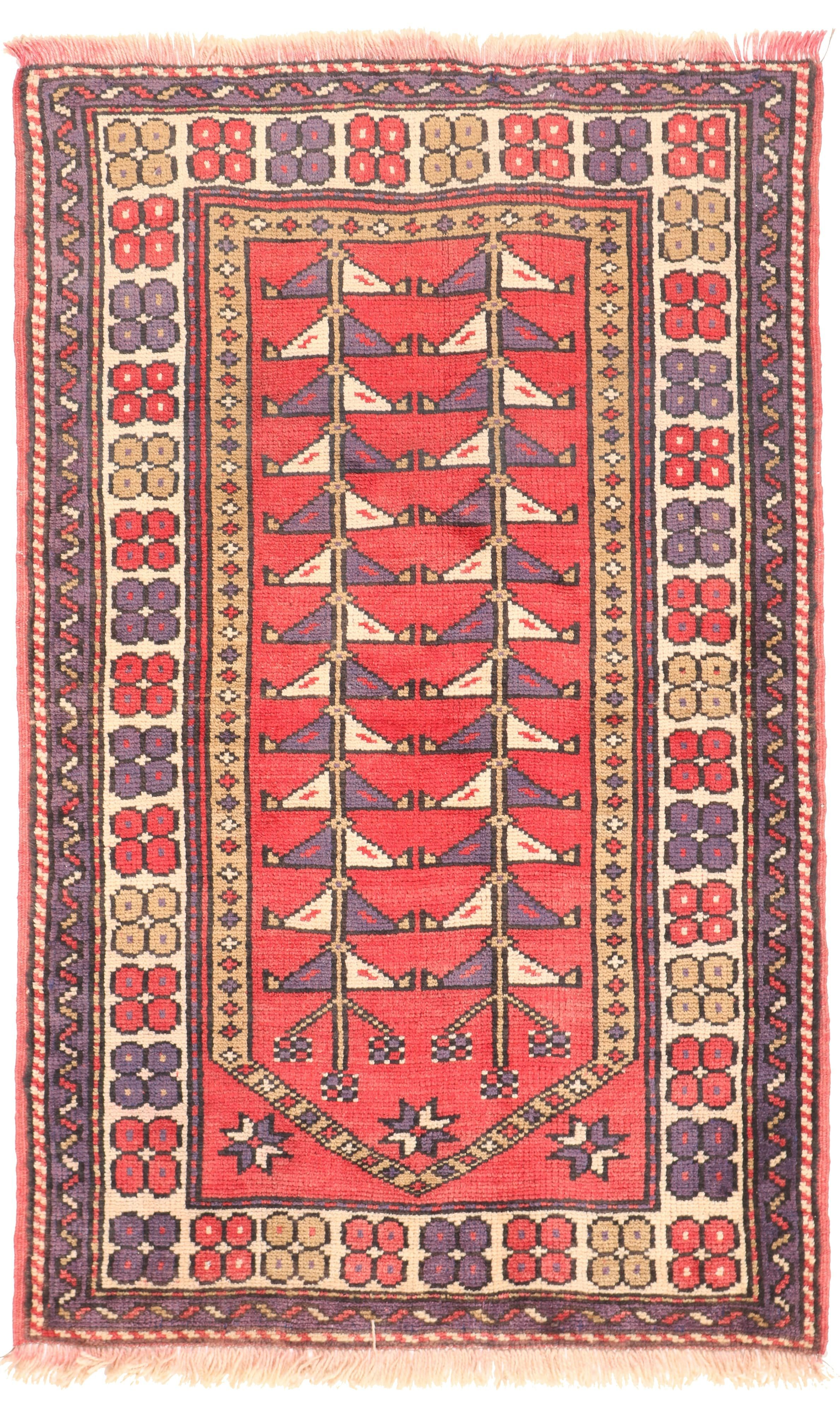 Persian Balouch Rug - Light Red / Purple / Beige - front view