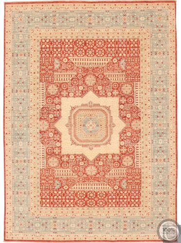Fine Garous Ziegler Mamluk Design Rug Red & Light Blue Border - front view