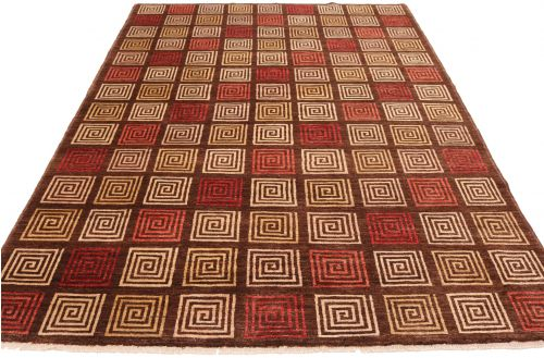 Modern Gabbeh with Red & Beige Square  9'64 x 6'16