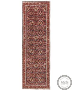 Persian Meshgabad runner rug red - Circa 1940 Front