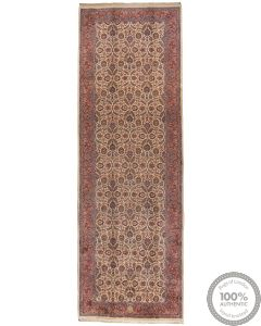 Persian Mashad Runner Rug - Beige background Pale Red Border- front view
